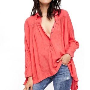 Free People Lovely Day Button Down Top (L)
